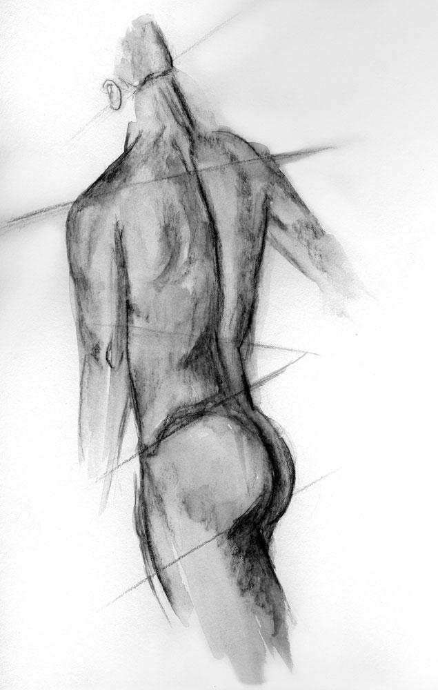 back body, graphite sketch Lesley Greco